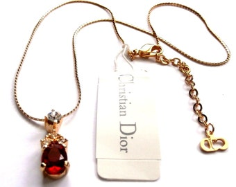 Christian Dior Signed Necklace Gold Plated with Ruby Red Crystal Pendant