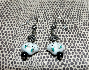 Silver and White Glass Frog Earrings