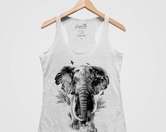 ELEPHANT Women Tank Top Triblend Racerback Tank Top Hand Screen Print
