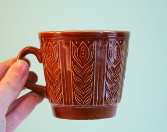 Set of vintage brown mug