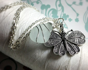 HALF PRICE - Moth To A Flame - moth seaglass necklace / seaglass jewelry / moth pendant / butterfly necklace / silver moth necklace