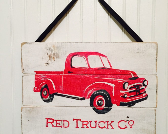 Red Truck Decor. Red Truck Sign. Kids Room Decor. Vintage Truck Decor. Antique Truck Signs. Antique Truck Decor. Boy Nursery Decor. Baby Boy