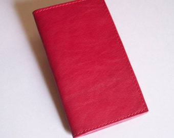 Red Leather Checkbook Cover - Red Leather Check Book Holder