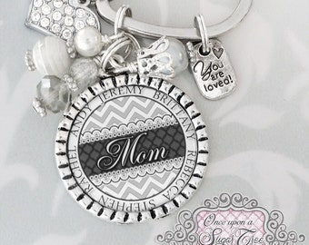 MOM GIFT, Mom Keychain, Grandma Gift, Aunt, Nana,Personalized Kid's Names, Gifts for Mom,Godmother, Personalized Keychain, Mother's Day Gift