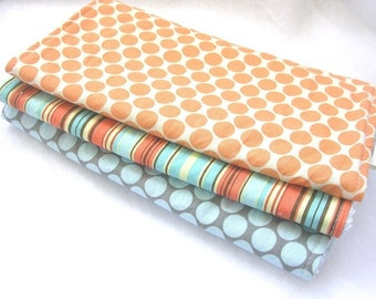 Boutique Burp Cloth Gift Set for Boy or Girl - Amy Butler Tangerine and Slate