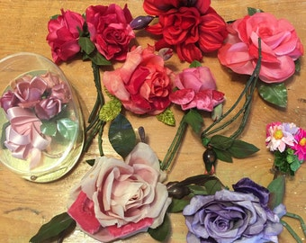 Vintage Milinery Roses ~ Corsages Velvet ~ Old Floral Corsages ~ Collectible ~ Valentines Day ~ Wedding Supplies Vintage ~ Pinks, Purple