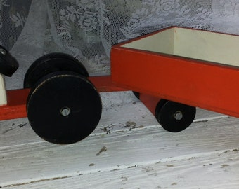 Wooden toy * Tractor with detachable trailer/trailer/Total length 52 cm/boys/tractor/agricultural vehicle