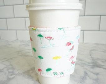Reusable Coffee Sleeve-Beach Umbrella Print
