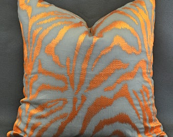 Custom pillow in a Gray Orange Tiger Stripe