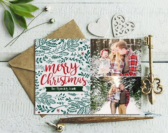Christmas Photo Card, Christmas Card Printable, Rustic Christmas Photo Card, Vintage Christmas Card, Holiday Photo Card, Xmas Card