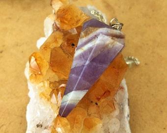 Amethyst Pendulum Necklace, Healing Crystal Jewelry Set