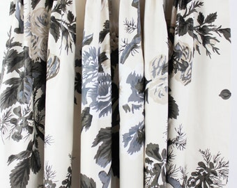 Schumacher Pyne Hollyhock Print Pinch Pleated Drapes (shown in Charcoal-also comes in Indigo, Blush, Grisaille, and Tobacco)