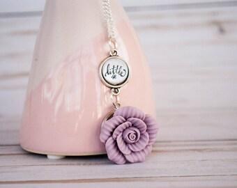 St Thérèse Little Flower Necklace, Unusual Catholic Saint Necklace, Purple Ceramic Flower Necklace