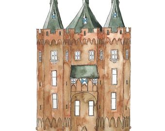 A5 Art Print / Postcard, Sassenpoort Zwolle, Illustration, Watercolor and Pen