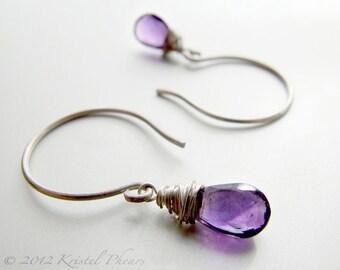 Amethyst Earrings -silver gold drop dangle earring February Birthstone jewelry Sterling or gold-filled purple simple Gift