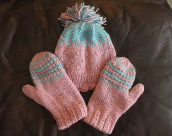 Hand Knit Hat with Matching Mittens
