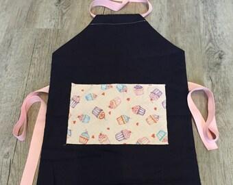 Children's Apron, Cupcake Pocket Apron, Traditional Apron, Purple Apron