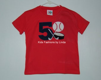 Applique Number Birthday Hockey/Baseball Tee Shirt-Name NOT included