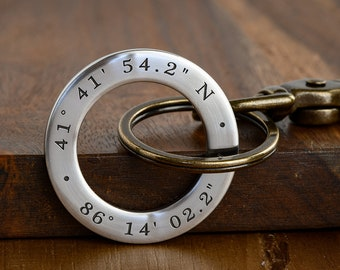 Mens Personalized Keychain - GPS Coordinates Longitude Latitude Keychain - Great anniversary gift for men