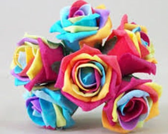 6 Stems Artificial Roses RAINBOW