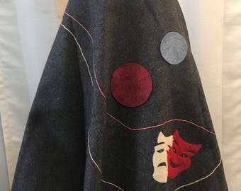 Vintage 1940's Gray Felted Wool Drama Face Skirt