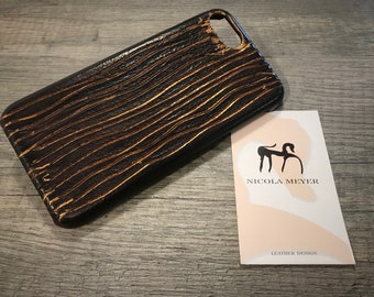 """NEW for SALE iPhone 8 7 4.7"""" Italian Leather Case to use as protection Color Black and Copper lamination"""