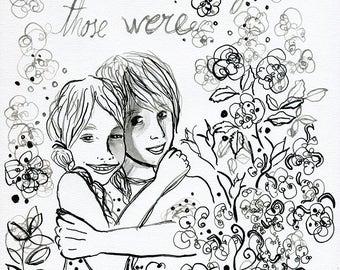 Line Drawing Original Illustration children. Original drawing. Childrens illustration. Original artwork. Ink drawing. Book illustration.