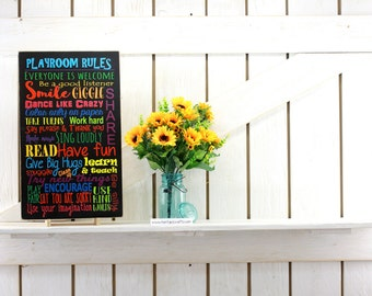 Playroom rules sign kids room sign 12x17