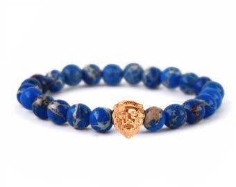 Lion Bracelet, Gemstone Bracelet, Mens Bracelet, Lion Jewellery, Blue Sea Sediment Jasper, Gold Lion