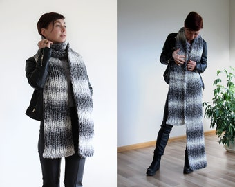Striped extra long scarf - chunky winter scarf - gray wool scarf - infinity scarf - knit scarf for men an women - knitted oversized scarf