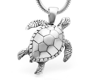 Sea Turtle Necklace #025 - Sea Turtle Jewelry, Animal Jewelry, Wildlife Jewelry, Hawaiian Jewelry, Island Jewelry, Sterling Silver or Gold