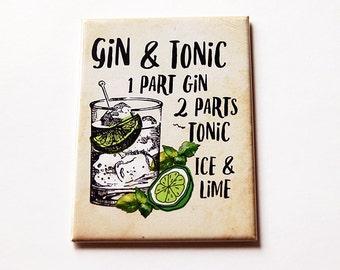 Gin & Tonic Magnet, Drink Recipe Magnet, Kitchen magnet, Magnet, Fridge magnet, ACEO, Drink Magnet, Multi5637, Gin, Tonic (5637c)