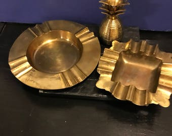 Vintage 3 Piece Brass Set Pineapple Figurine and a Pair of Brass Ash Trays  ManCave Retro Rustic Style Office Decor
