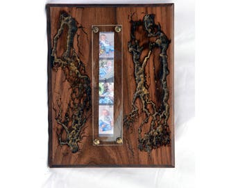 Wood Photo Frame Solid Walnut-Fractal Burning Wood Art - Wall Art, Lichtenberg figures,