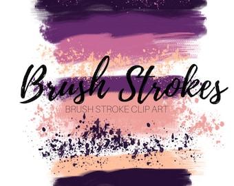 pink brush strokes - Brush stroke clip art -ink splatter clip art - ink clip art - Commercial use