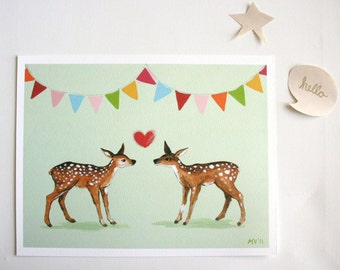 Celebrate Love - PRINT baby and kids nursery decor, deer, heart, valentines day, love, forest