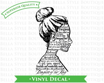 Daughter of the King Identity Female Silhouette VINYL DECAL