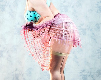 Grid Mesh Latex Short Circle Skirt in Pink or ANY Colour