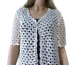 Vintage inspired crochet cardigan-Ivory cotton-Spring summer collection-Size Small-only one