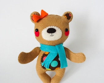 adorable handsewn felt teddy bear
