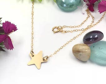 Star Necklace - Hammered - 14k - Gold Filled - Sterling Silver - 16 inch - 18 inch - Cable Chain - Silver Star - Gold Star - Mothers Day