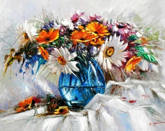 Modern abstract-vase with colourful flowers i94994 80 x 110 cm abstract painting hand painted