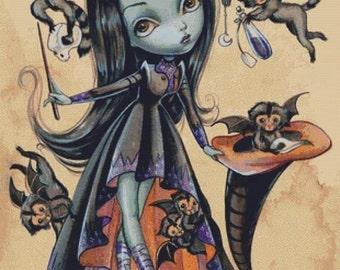 Cross stitch kit, 'Elphaba with flying monkeys, Simona Candin, Needlecraft kit,Wicked Witch, Wizard of Oz Cross Stitch, DMC Materials