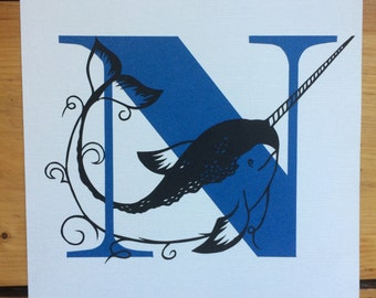 N is for Narwhale - Original Papercut Art