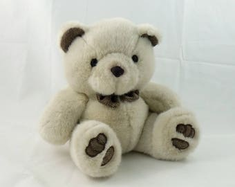 Vintage 80s Chosun Plush Stuffed Teddy Bear, Stuffed Bear, Bear Lovers Gift, Brown Bear, Sitting Bear Cute Bear Fuzzy Bear Peluche Soft Bear