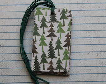 Evergreen Tree Tags 28 gift tags Pine/Evergreen patterned paper over chipboard tags