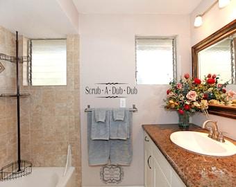 Bathroom Decal - Scrub A Dub Dub - Bathroom Decor - Bathroom Sayings - Wall Words - Bathroom Decorations - Bathtime