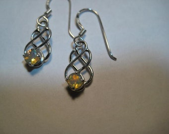 Faceted Eithiopian Opal ... Celtic Earrings ... Sterling Silver   ...    a2