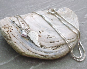 Angel Wing Necklace - Sterling Silver - Angel Wing - Custom Sizes
