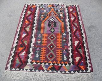 "Turkish Kilim rug, area rug, rug, vintage rug, bohemian rug, Turkish rug, rug, Soft color kilim, rug,  SİZE = 45"" X 62""  ( 113 cm X 155 cm )"